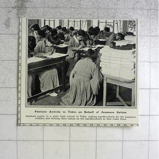 1914 Japanese Pupils Making Handkerchiefs For Japanese Soldiers