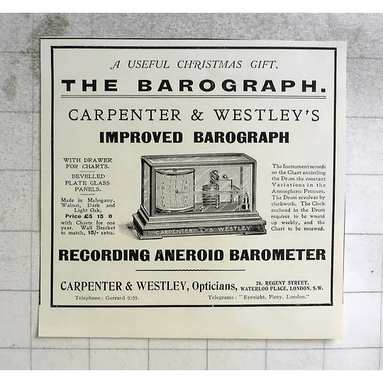 1914 Carpenter And Westley, Improved Barograph, Ideal Present