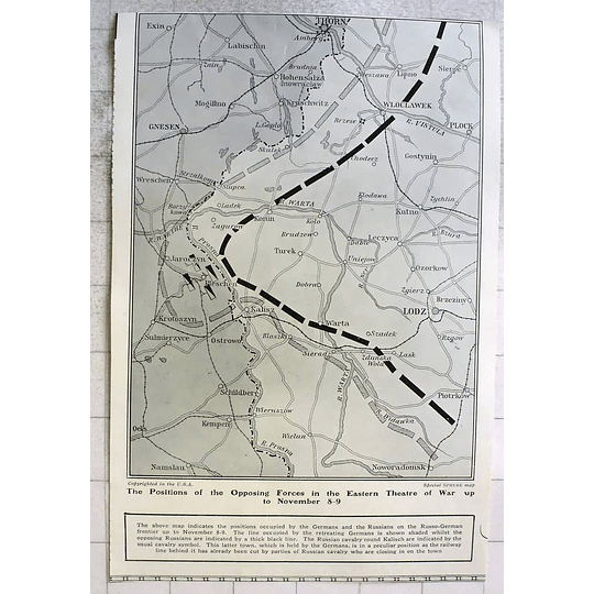 1914 Map Showing Positions Occupied By Germans And Russians On Frontier
