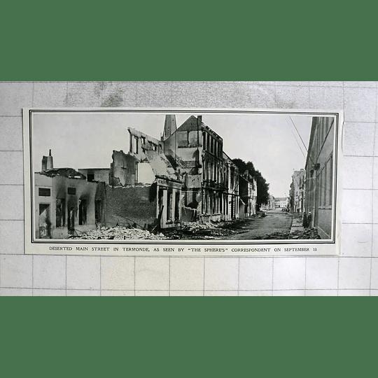 1914 Deserted Main Street In Termonde September 10