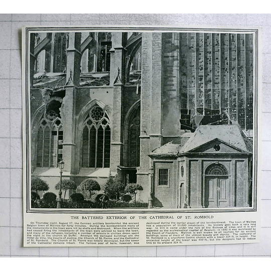 1914 Battered Exterior Of Cathedral St Rumbold