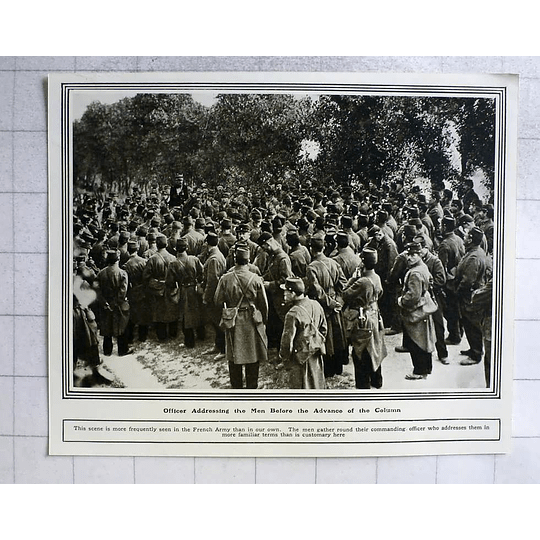 1914 French Officer Addressing Men Before Column Advance