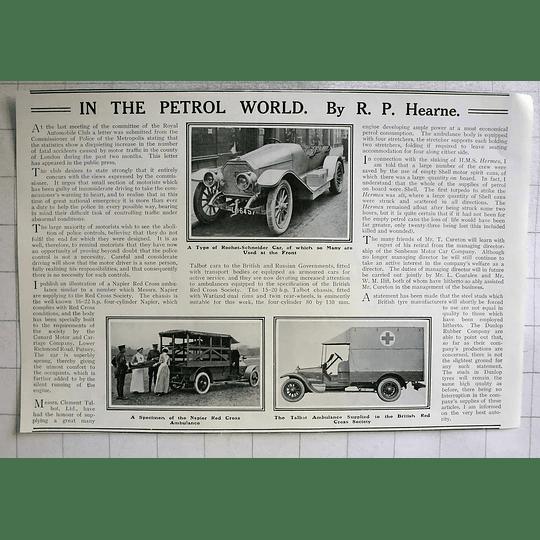 1914 Napier, Talbert, Red Cross Ambulances, Rochet- Schneider Car