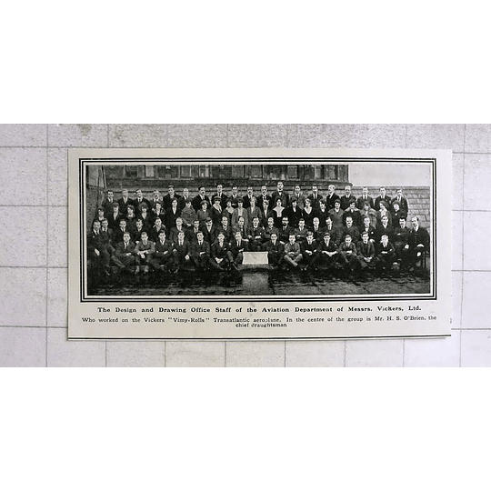 1919 Design And Drawing Office Staff Vickers Aviation Department H. S. O'brien