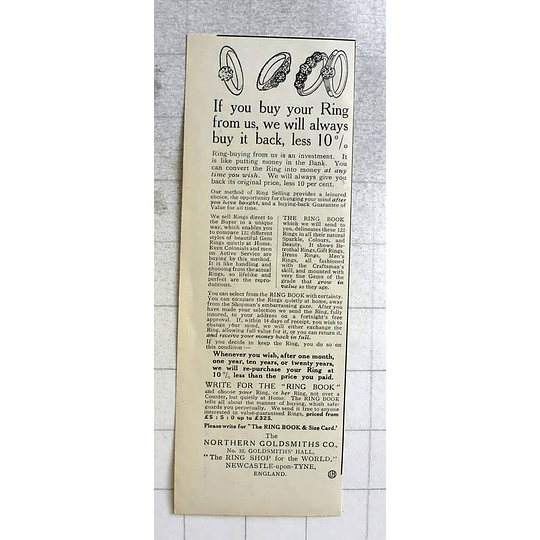 1919 The Northern Goldsmiths Company Newcastle Upon Tyne Always Buyback