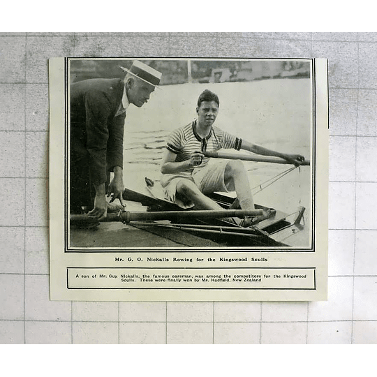 1919 Mr Go Nickalls Rowing For The Kingswood Sculls