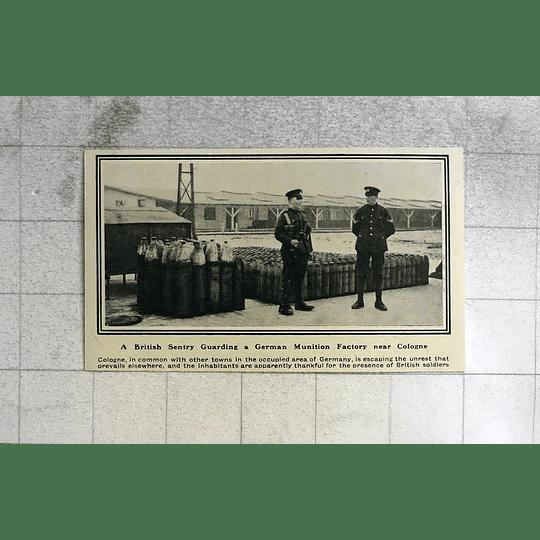 1919 British Sentry Guarding German Ammunition Factory Near Cologne