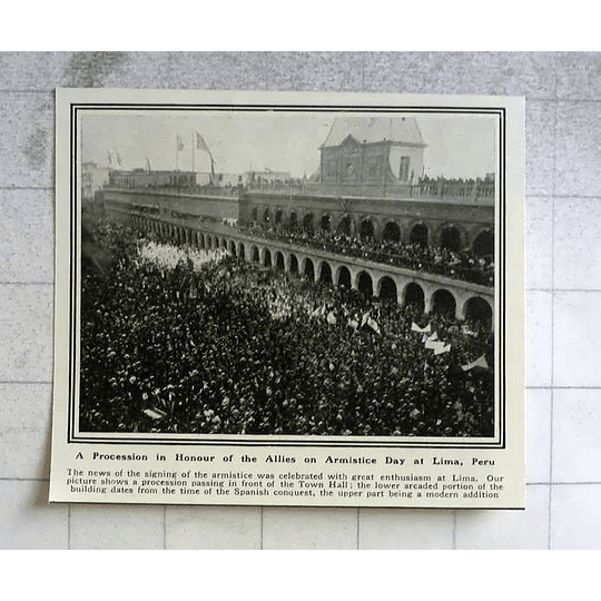 1919 Procession At Lima, Peru To Honour Allies Armistice Day