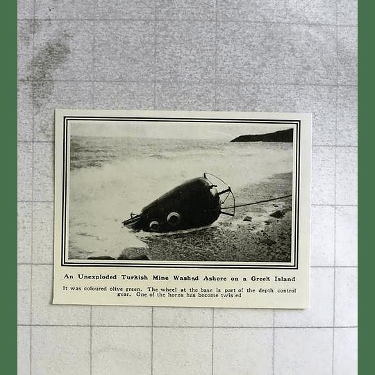 1919 Unexploded Turkish Mine Washed Ashore On Greek Island