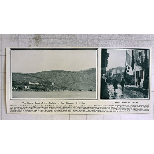 1919 Rocky Coast San Giovanni De Medua, Street Scene Valona