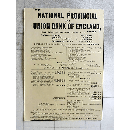 1919 National Provincial And Union Bank Of England Liabilities And Assets