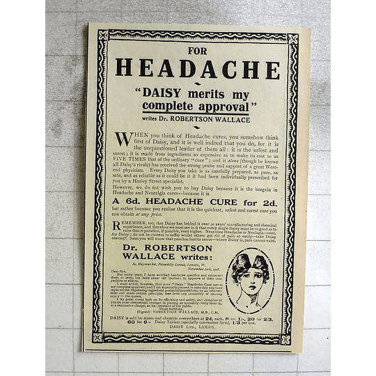 1919 Dr Robertson Wallace Approves Of Daisy Tablets, Leeds