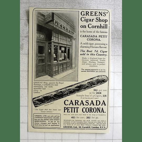 1919 Greens Cigar Shop On Cornhill, Carasada Petit Advocated Corona