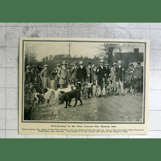 1919 Opening Meet Of Culmstock Otter Hounds Cross Keys Taunton