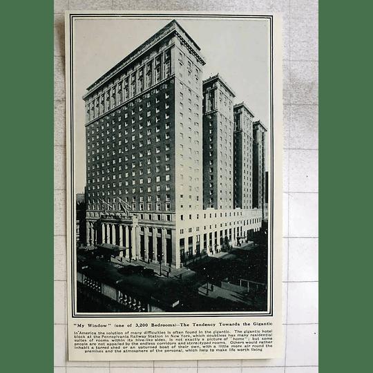 1919 Gigantic Hotel Block At The Pennsylvania Railway Station In New York