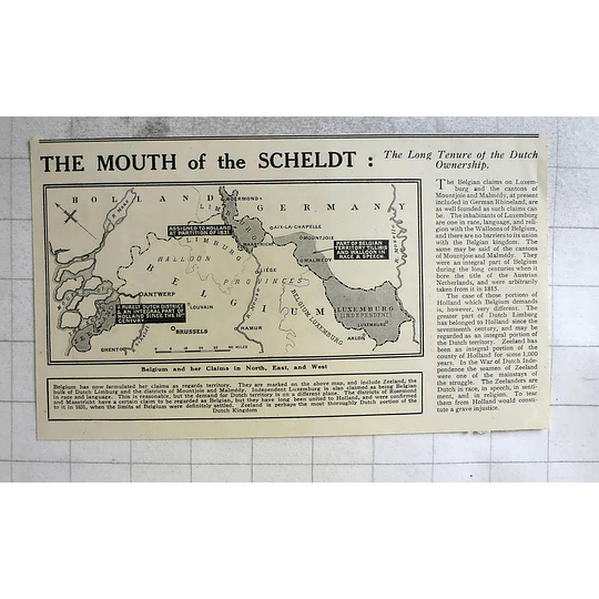 1919 Belgium And Her Claims Mouth Of The Scheldt, Dutch Ownership