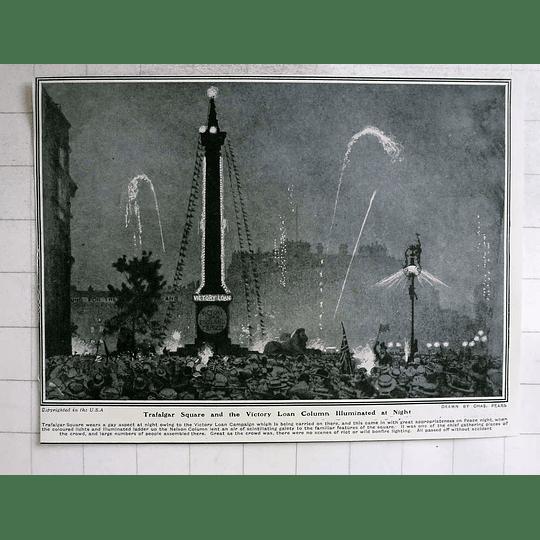 1919 Trafalgar Square And Victory Loan Column Illuminated At Night
