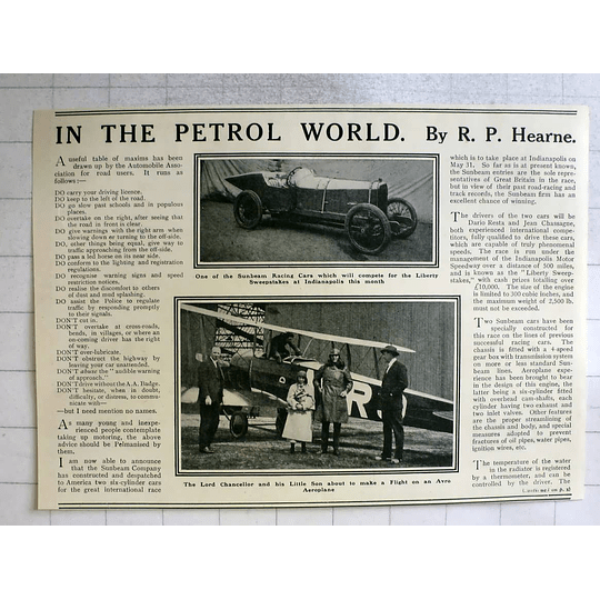 1919 Lord Chancellor & About To Fly Avro Aeroplane, Sunbeam Racer