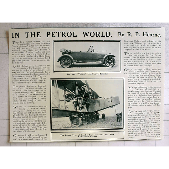 1919 New Victory Model Arrol- Johnston Handley -page For Rolls-royce Engines