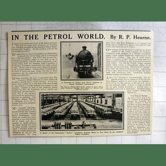 1919 Batch Puma Aeroplane Engines Built In 10 Days By Siddeley Deasy Company