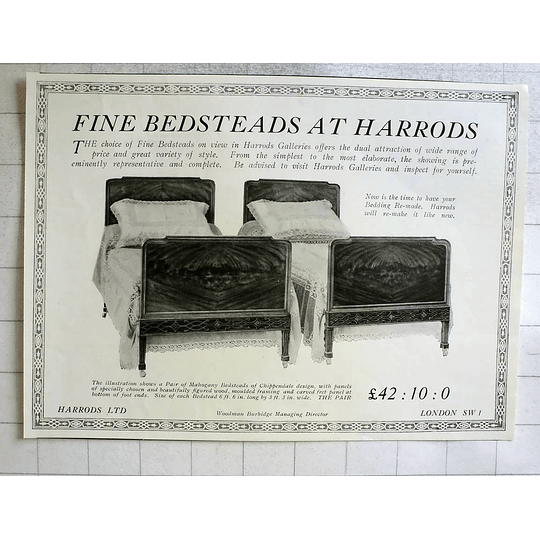 1919 Fine Bedsteads At Harrods Galleries, Mahogany Chippendale £42