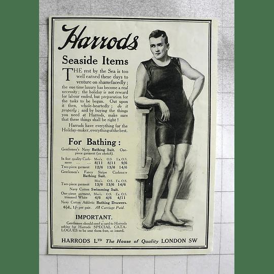 1917 Gentlemen's Navy Bathing Suits Harrods Seaside Items