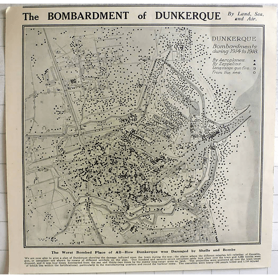 1919 Map Of The Bombardment Of Dunkirk Over 5000 Dropped, Heavy Casualties