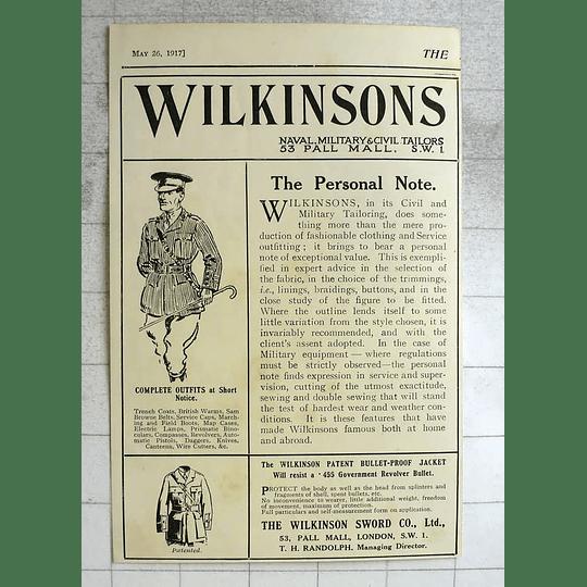 1917 Wilkinson Sword Bullet-proof Jacket Resists Revolver Bullet