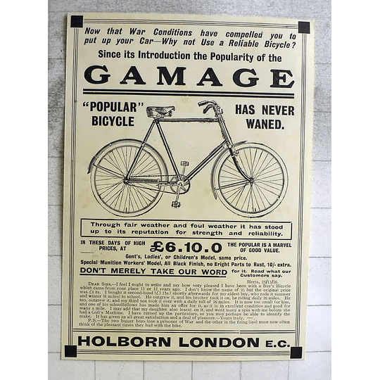 1917 The Popular Gamage Bicycle, £6.10 Shillings