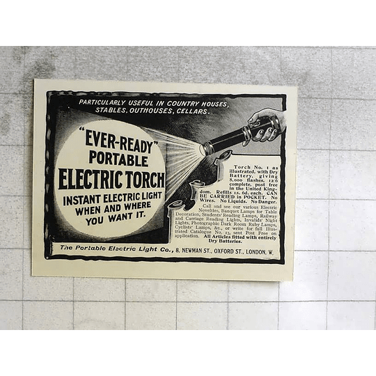 1917 Eveready Portable Electric Torch Newman Street Oxford Street