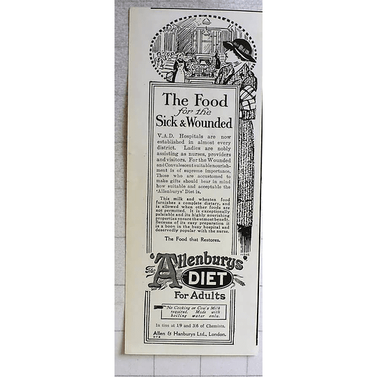 1917 Allen And Handburys Food For The Sick And Wounded
