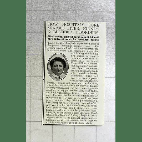 1917 Qualified Nurse Alice Landles Suggests Drinking Salt Rated Water
