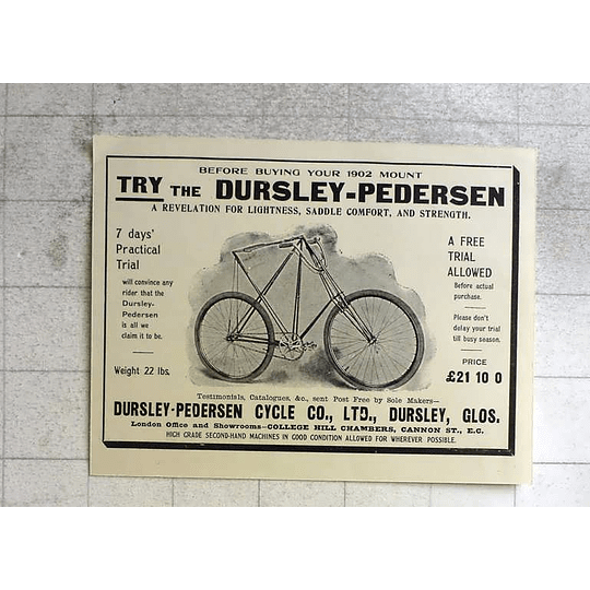 1917 Try The Dursley -pedersen Cycle Gloucestershire Comfort And Strength