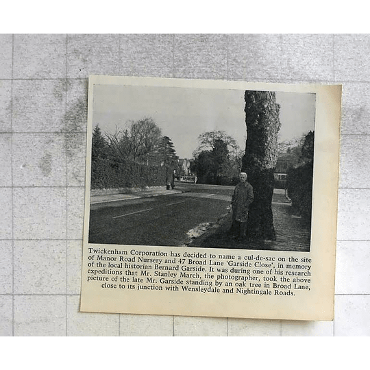 1963 Garside Close, Stanley March Photograph Of Bernard Garside
