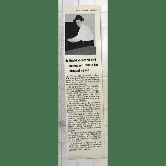 1963 17-year-old David Fennell, Twickenham, Jazz Pianist