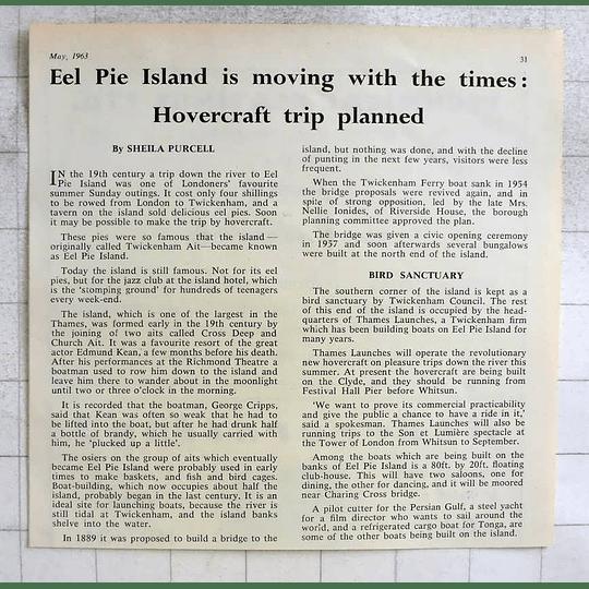 1963 Hovercraft Trip Planned, Eel Pie Island