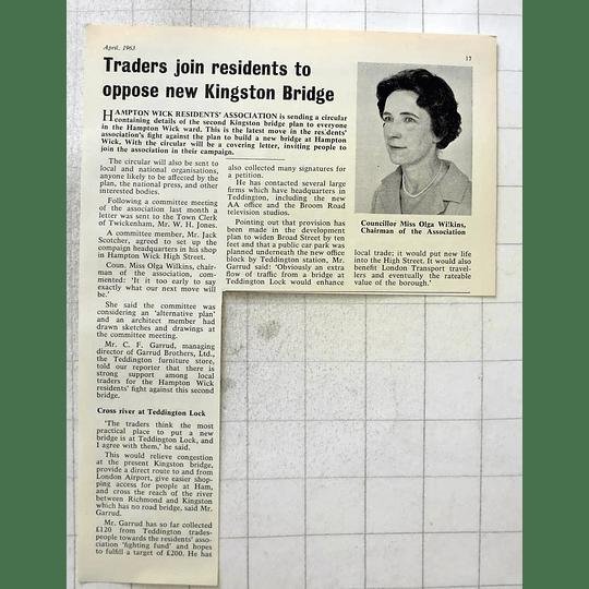 1963 Councillor Miss Olga Wilkins, Resident Proposed New Kingston Bridge