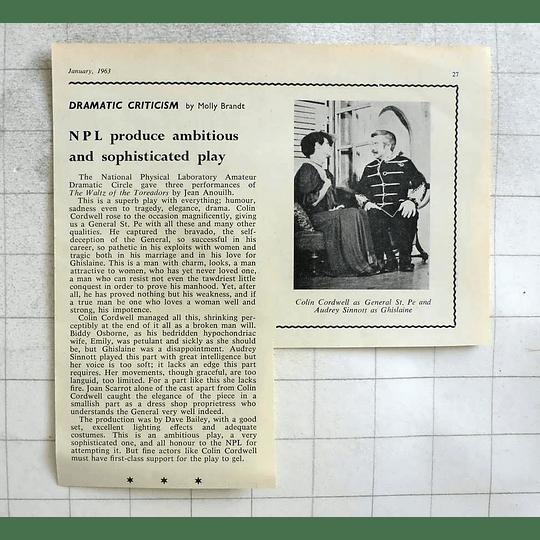1963 National Physical Laboratory Amateur Dramatic Colin Cordwell Audrey Sinnott