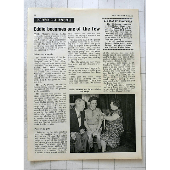 1963 Memorable Evening For Eddie Barnes First St Margarets Scout Group