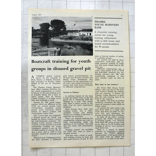 1963 Boat Craft Training For Youth Groups Thames A Young Mariners