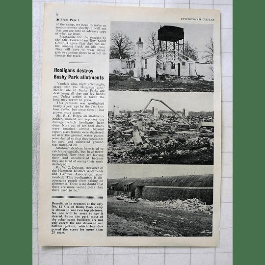 1963 Hooligans Destroyed Bushy Park Allotments, Demolition