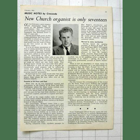 1963 New Church Organist, Richard Lester, 17 Years Old, Twickenham
