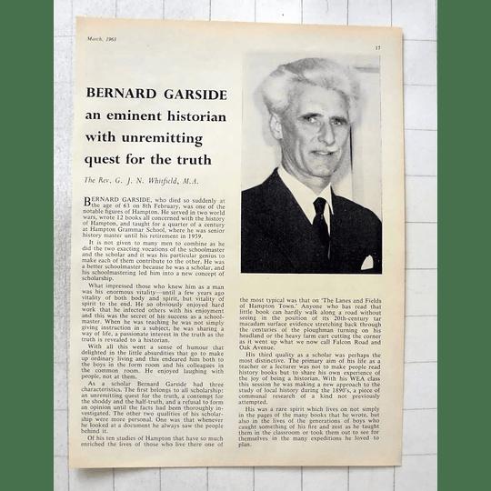 1963 Bernard Garside, Eminent Historian, Hampton Grammar School