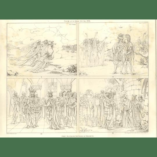 1875 Prof Retzsch's Sketches Of Macbeth 1-4