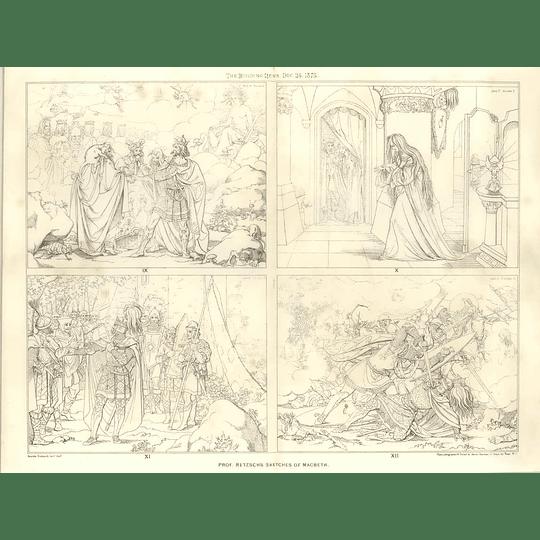 1875 Prof Retzsch's Sketches Of Macbeth 9-12