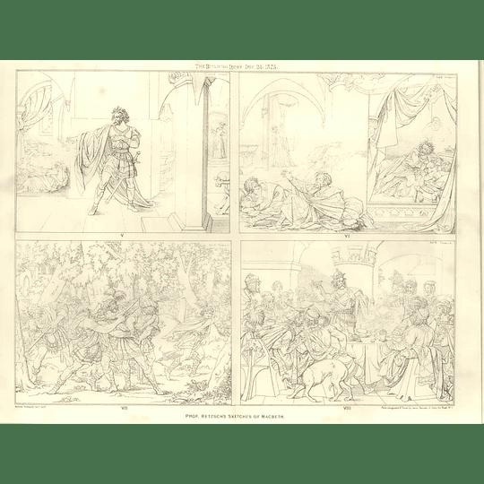 1875 Prof Retzsch's Sketches Of Macbeth 5-8