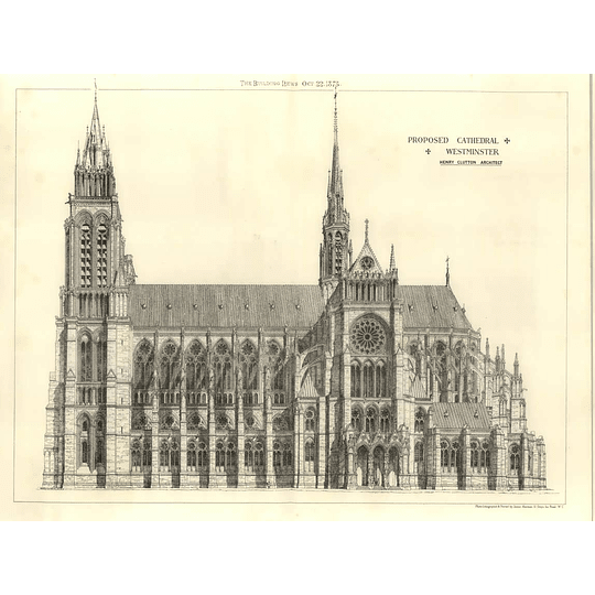 1875 Proposed Cathedral, Westminster, Henry Clutton Architect