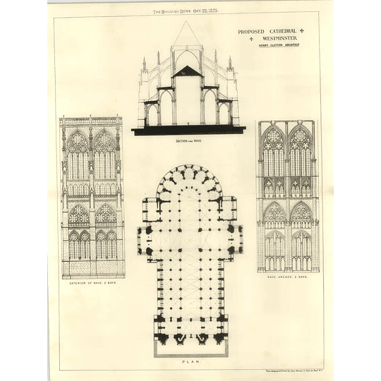 1875 Proposed Cathedral Westminster, Section, Nave Arcade Plan, Henry Clutton
