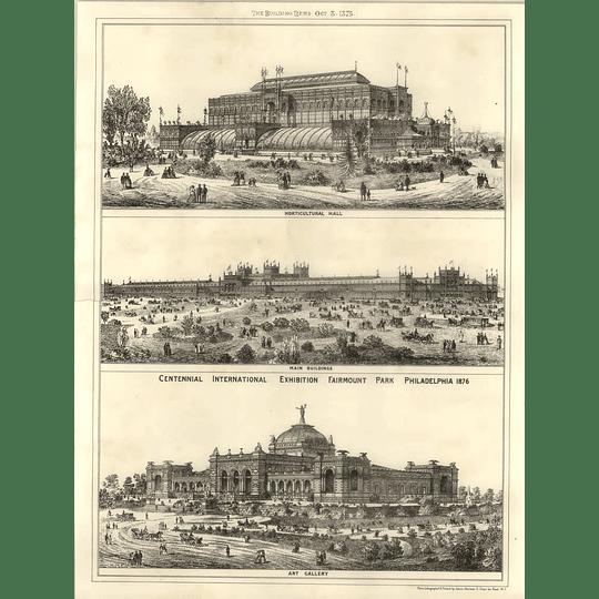 1875 Centennial Exhibition Fairmount Park Philadelphia Art Gallery Main Building