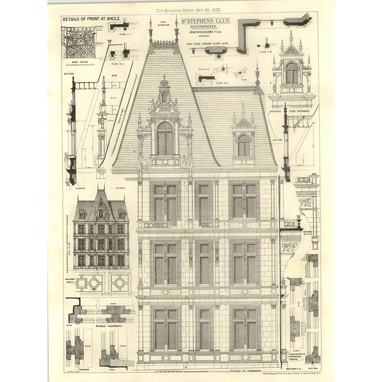 1875 St Stephen's Club Westminster, Part Elevation, Sections